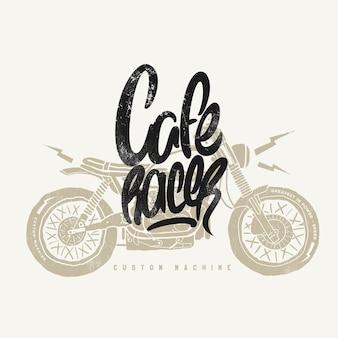 Cafe racer vintage motorcycle ręcznie rysowane t-shirt z nadrukiem.