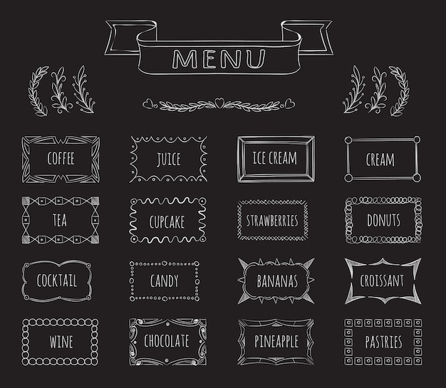 Cafe tablica menu ręcznie rysowane zestaw. kawa i sok, lody i herbata, kawiarnia menu, ilustracja
