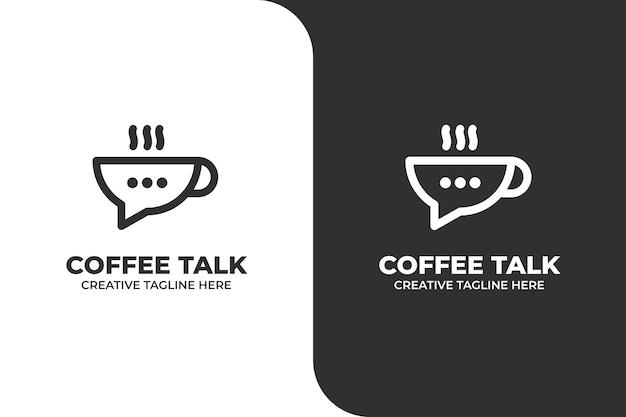 Cafe talk coffee shop monoline logo