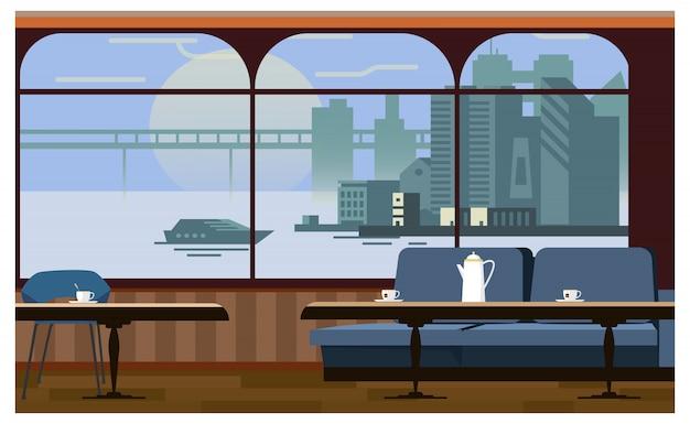 Cafe wnętrze z tabel i ilustracji kanapie