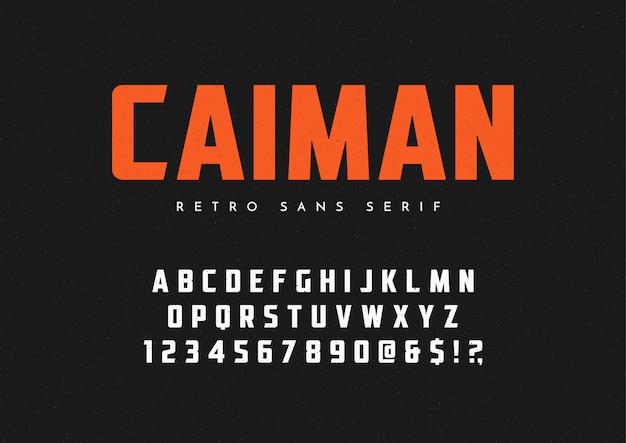Caiman modny bezszeryfowy krój pisma retro, czcionka, litery i cyfra