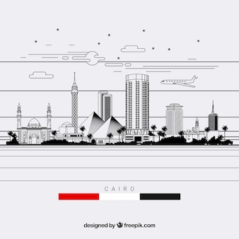 Cairo skład linii horyzontu w stylu lineal