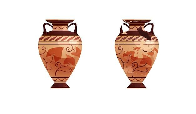 Cała i połamana antyczna waza z dekoracją ceramiczny garnek archeologiczny