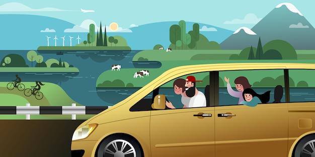 Cała młoda rodzina jedzie na wakacyjną wycieczkę minivanem poza miastem.