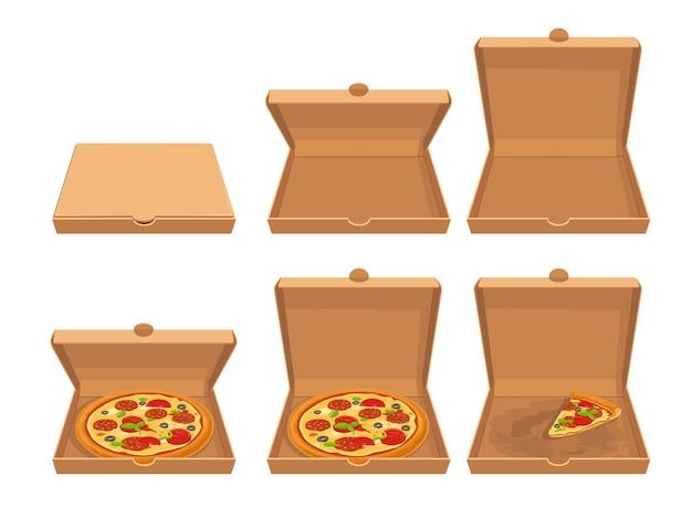 Cała pizza i plasterki pizzy w zamkniętym i otwartym brązowym pudełku kartonowym ustaw wektor płaski ikona