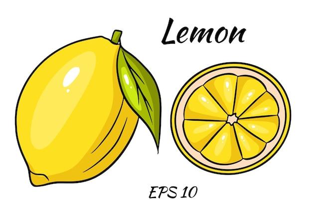 Cała żółta cytryna i pokrojony kawałek. styl kreskówki.