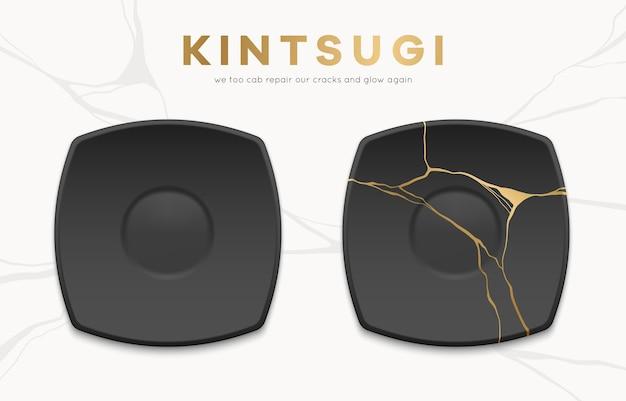 Całe i połamane czarne płytki ze złotymi pęknięciami kintsugi