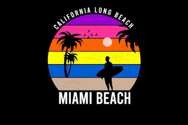 California długa plaża miami beach kolor żółty i pomarańczowy fioletowy