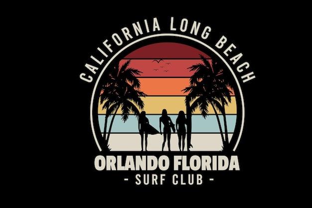 California long beach orlando florida surf club kolor czerwony żółty i kremowy