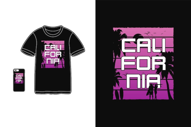 California, makieta sylwetki t-shirt, typografia