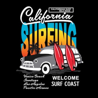 California miami surfing typografia t shirt wektor