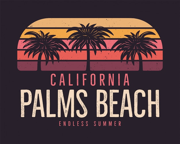 California palms beach, summer surf background