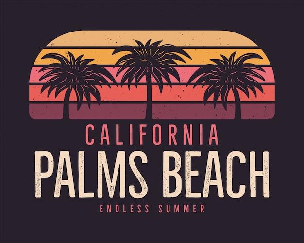 California palms beach, summer surf background