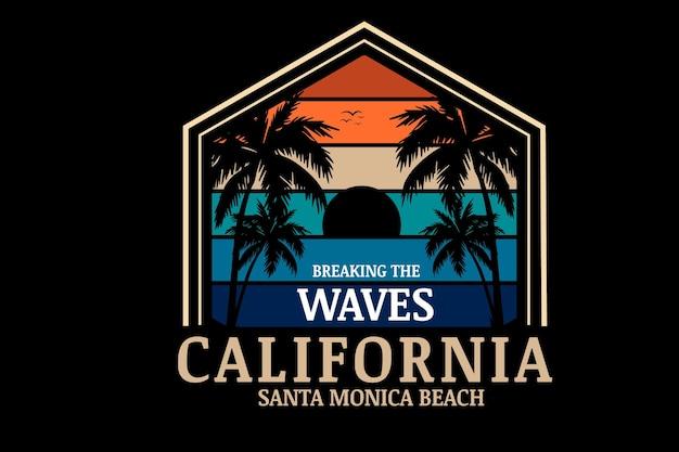 California santa monica beach kolor pomarańczowy kremowy i zielony niebieski