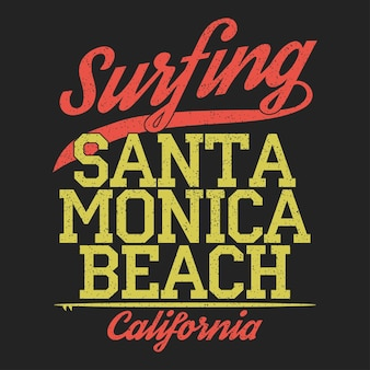 California santa monica beach typografia do projektowania ubrań koszulki surfing print