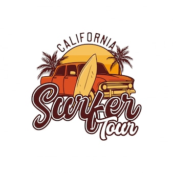 California surfer tour. projekt retro surfowania t shirt ilustracja plakat