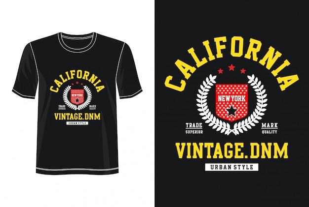 California typografia do nadruku t shirt