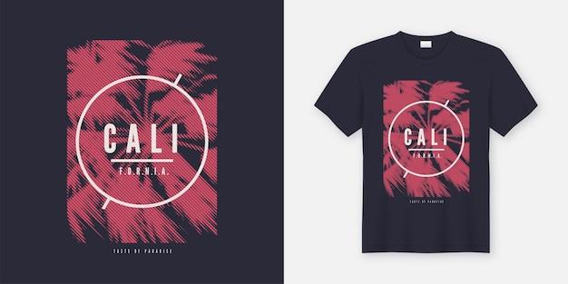 California vector t-shirt ze stylizowaną palmą. globalne próbki.