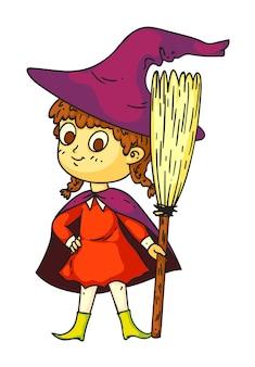 Całkiem halloweenowa mała czarownica z miotłą na białym tle