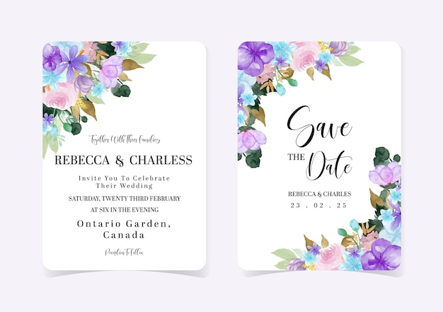 Całkiem kolorowy zestaw kwiatowy zaproszenie na ślub