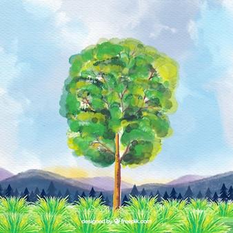 Całkiem krajobraz z drzewa akwareli