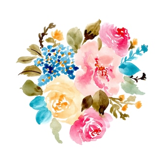 Całkiem kwiatowy bukiet akwarela