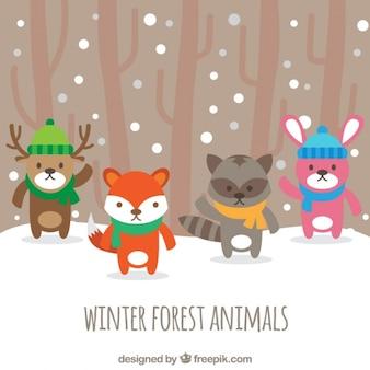 Całkiem zwierzęta leśne z kapelusz i szalik