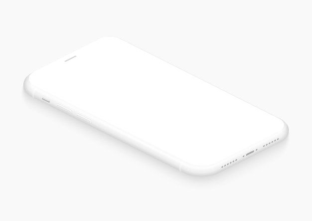 Całkowicie miękki, izometryczny, biały smartfon. 3d realistyczny szablon telefonu z pustym ekranem do wstawiania dowolnego interfejsu ui, testu lub prezentacji biznesowej. pływający miękki makieta widok perspektywiczny projektu