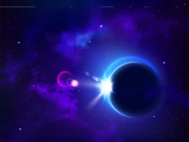 Całkowite zaćmienie słońca lub księżyca. księżyc pokrywa słońce tajemnicze zjawisko naturalne w przestrzeni kosmicznej, planetarny dystans, galaktyka nieba, świecące gwiazdy, astronomia, kosmiczne tło. realistyczna 3d wektorowa ilustracja