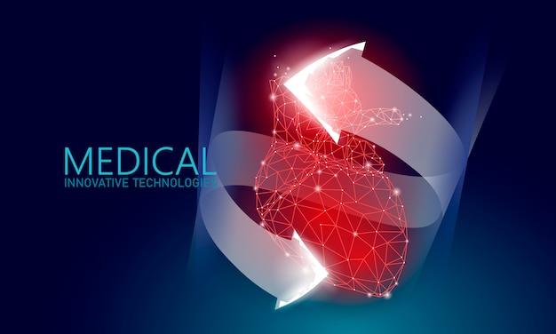 Całkowite zdrowe serce bije pojęcie low poly 3d medycyny.