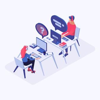 Call center, pomoc online, operatorzy infolinii, menedżerowie konsultantów postaci 3d