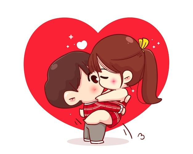 Całowanie para kochanków, szczęśliwa walentynki, ilustracja postaci z kreskówki
