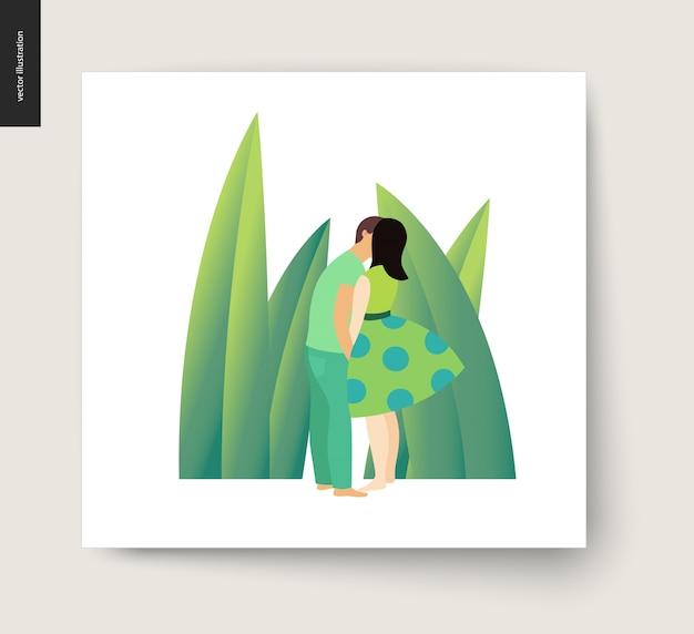Całowanie sceny ilustracja