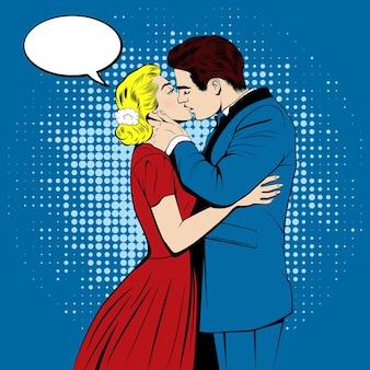 Całująca się para w stylu komiksów pop art.