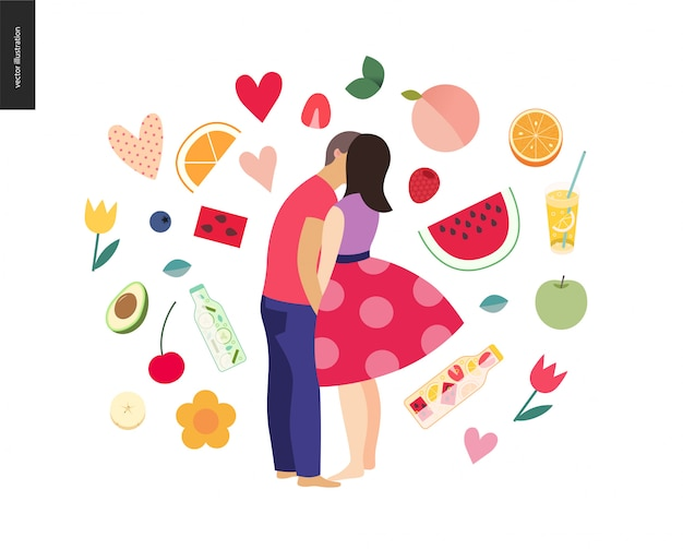 Całuje scenę - płaska kreskówka wektor ilustracja młoda para, chłopak i dziewczyna, całowanie na plaży, romantyczna scena z owocami