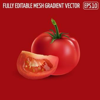 Cały czerwony pomidor z plasterkiem na czerwonym tle.