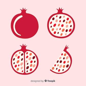 Cały i ścięty owoc granatu