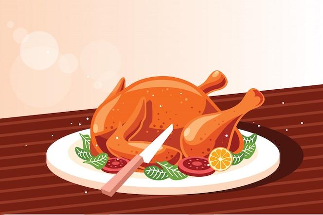 Cały pieczony kurczak na drewnianą deską do krojenia