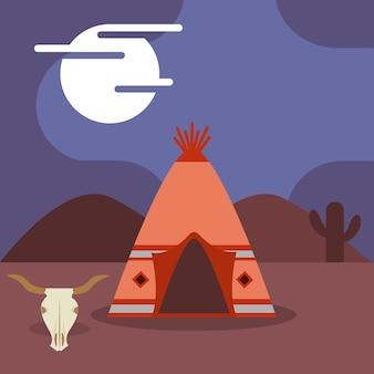 Camp native american teepee czaszka kaktus w nocy