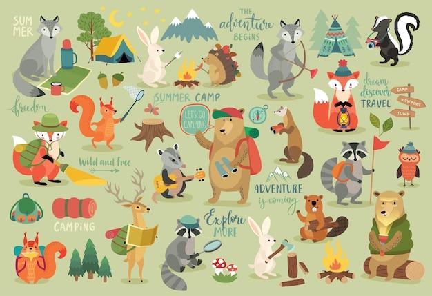 Camping animals ręcznie rysowane styl motywacji kaligrafia i inne elementy