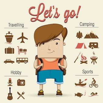 Camping chłopiec charakterze ilustracji wektorowych