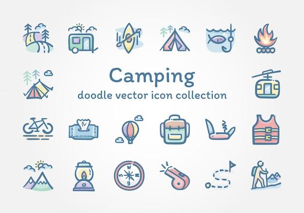 Camping doodle wektor ikona kolekcja