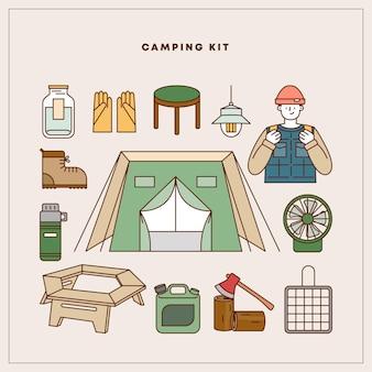Camping element wektor ilustracja zestaw