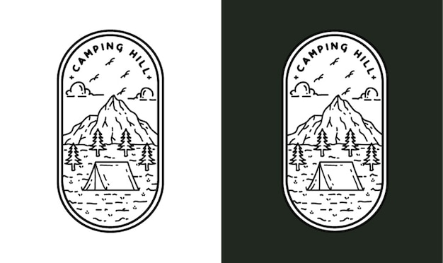 Camping hill ilustracja monoline