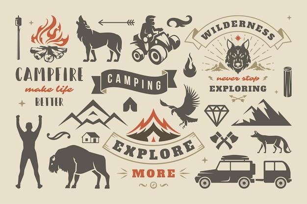 Camping i zestaw elementów projektu przygoda na świeżym powietrzu, cytaty i ikony ilustracja wektorowa. góry, dzikie zwierzęta i inne. nadaje się do koszulek, kubków, kartek okolicznościowych, nakładek fotograficznych i plakatów
