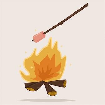 Camping ikona z ogniskiem i grilla zefir