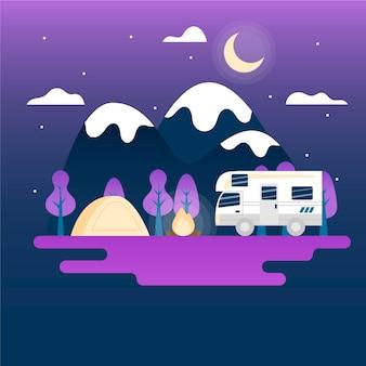 Camping ilustracja z przyczepą kempingową