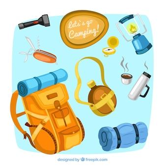 Camping ilustracje sprzętu