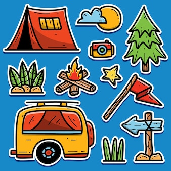 Camping kreskówka kawaii doodle projekt naklejki