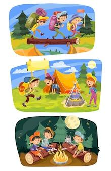 Camping letni dla dzieci grupa nastolatków iść na wędrówki w przyrodzie z plecakami